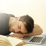 Student sleeping while studying